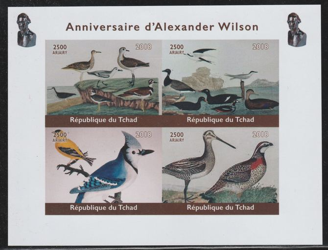 Chad 2018 Alexander Wilson (ornithologist) imperf sheetlet containing 4 values unmounted mint. Note this item is privately produced and is offered purely on its thematic appeal.
