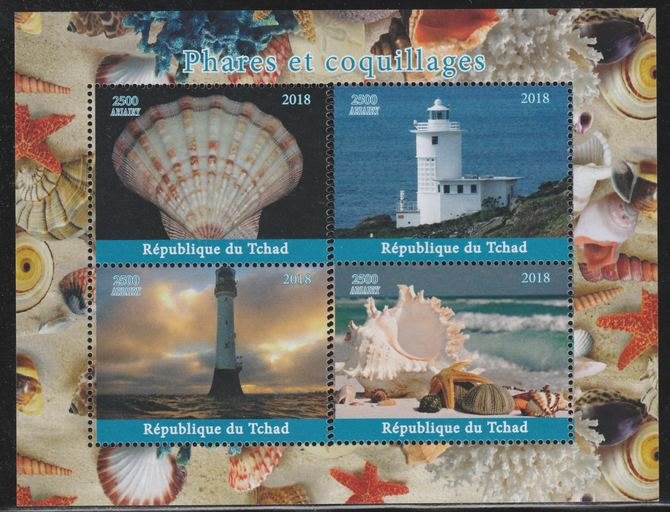 Chad 2018 Shells & Lighthouses perf sheetlet containing 4 values unmounted mint. Note this item is privately produced and is offered purely on its thematic appeal.