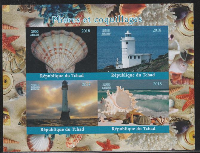 Chad 2018 Shells & Lighthouses imperf sheetlet containing 4 values unmounted mint. Note this item is privately produced and is offered purely on its thematic appeal.
