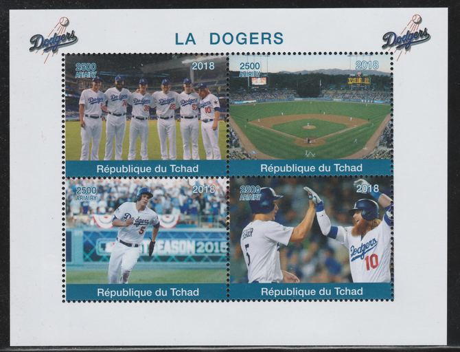 Chad 2018 The Dodgers (Baseball) perf sheetlet containing 4 values unmounted mint. Note this item is privately produced and is offered purely on its thematic appeal.