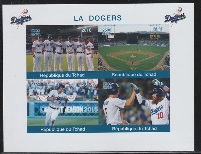 Chad 2018 The Dodgers (Baseball) imperf sheetlet containing 4 values unmounted mint. Note this item is privately produced and is offered purely on its thematic appeal.
