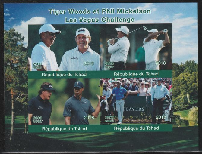 Chad 2018 Tiger Woods & Phil Mickelson (golf) imperf sheetlet containing 4 values unmounted mint. Note this item is privately produced and is offered purely on its thematic appeal.