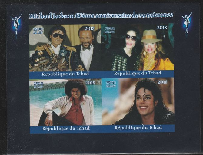 Chad 2018 Michael Jackson 60th Birth Anniv imperf sheetlet containing 4 values unmounted mint. Note this item is privately produced and is offered purely on its thematic appeal.
