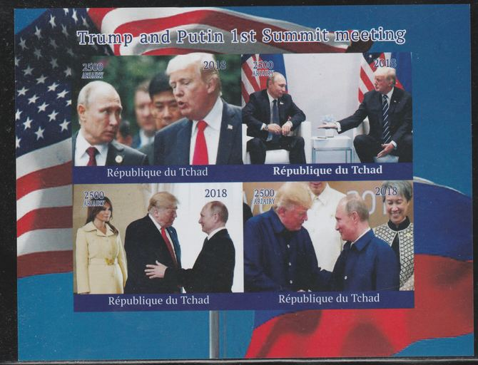 Chad 2018 Trump & Putin Summit imperf sheetlet containing 4 values unmounted mint. Note this item is privately produced and is offered purely on its thematic appeal.
