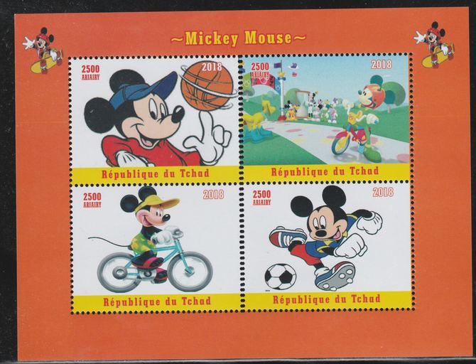 Chad 2018 Mickey Mouse perf sheetlet containing 4 values unmounted mint. Note this item is privately produced and is offered purely on its thematic appeal.
