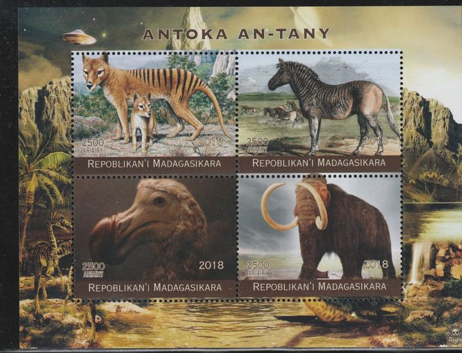 Madagascar 2018 Extinct Animals perf sheetlet containing 4 values unmounted mint. Note this item is privately produced and is offered purely on its thematic appeal.