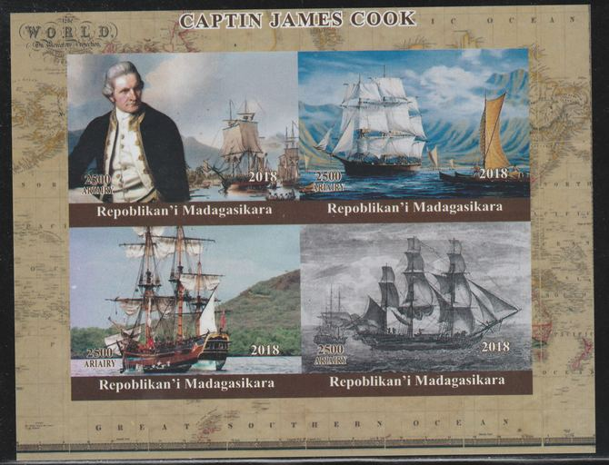 Madagascar 2018 Captain Cook imperf sheetlet containing 4 values unmounted mint. Note this item is privately produced and is offered purely on its thematic appeal.