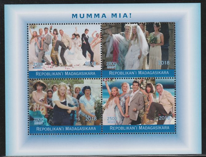 Madagascar 2018 Mumma Mia (Abba) perf sheetlet containing 4 values unmounted mint. Note this item is privately produced and is offered purely on its thematic appeal.