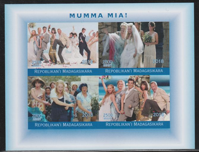 Madagascar 2018 Mumma Mia (Abba) imperf sheetlet containing 4 values unmounted mint. Note this item is privately produced and is offered purely on its thematic appeal.