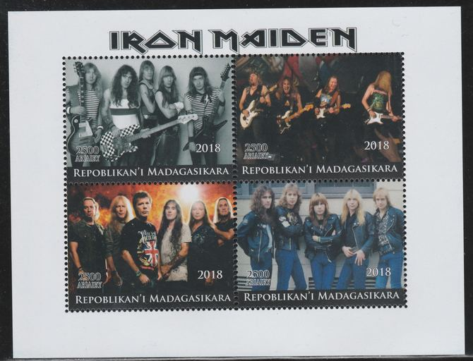 Madagascar 2018 Iron Maiden perf sheetlet containing 4 values unmounted mint. Note this item is privately produced and is offered purely on its thematic appeal.