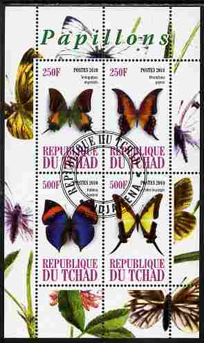 Chad 2010 Butterflies #2 perf sheetlet containing 4 values fine cto used