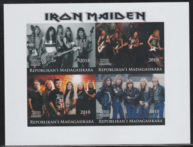 Madagascar 2018 Iron Maiden imperf sheetlet containing 4 values unmounted mint. Note this item is privately produced and is offered purely on its thematic appeal.