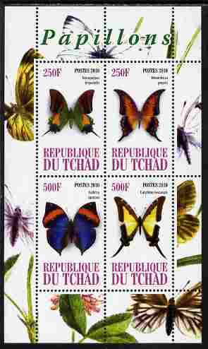 Chad 2010 Butterflies #2 perf sheetlet containing 4 values unmounted mint