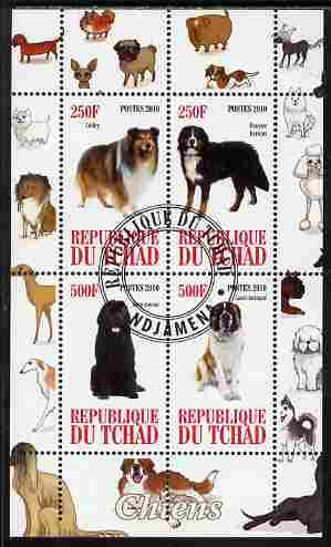 Chad 2010 Dogs #1 perf sheetlet containing 4 values fine cto used