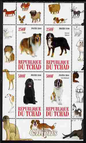 Chad 2010 Dogs #1 perf sheetlet containing 4 values unmounted mint