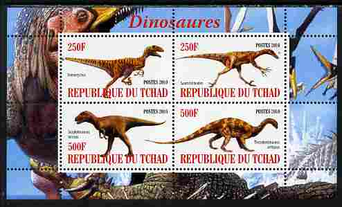 Chad 2010 Dinosaurs #2 perf sheetlet containing 4 values unmounted mint