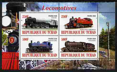 Chad 2010 Steam Locomotives perf sheetlet containing 4 values unmounted mint