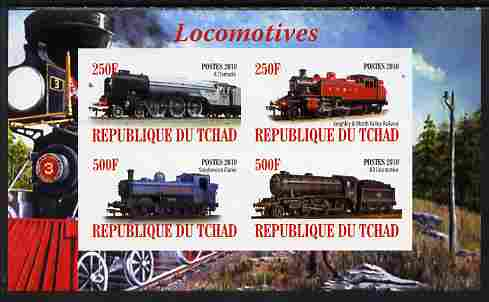 Chad 2010 Steam Locomotives imperf sheetlet containing 4 values unmounted mint