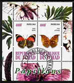 Chad 2010 Butterflies #3 perf sheetlet containing 2 values fine cto used