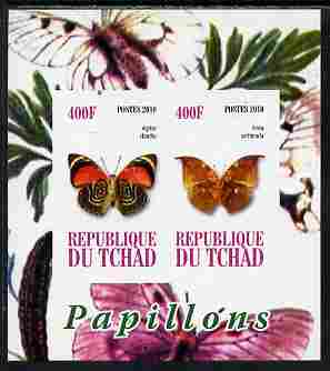 Chad 2010 Butterflies #3 imperf sheetlet containing 2 values unmounted mint, stamps on butterflies