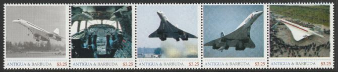 Antigua & Barbuda unissued Concorde perforated strip of 5 essays produced on official blank stamp paper unmounted mint, apparently no more than 15 strips exist. Slight of...