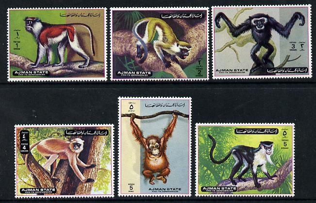 Ajman 1972 Monkeys perf set of 6 unmounted mint, Mi 2925-30*