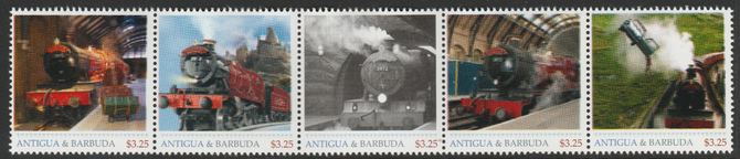 Antigua & Barbuda unissued Steam Locomotives perforated strip of 5 essays produced on official blank stamp paper unmounted mint, apparently no more than 15 strips exist. ...
