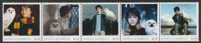 Antigua & Barbuda unissued Harry Potter perforated strip of 5 essays produced on official blank stamp paper unmounted mint, apparently no more than 15 strips exist. Sligh...