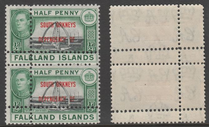 Falkland Islands Dependencies - South Orkneys 1944 KG6 1/2d black & green jnmounted mint vertical pair with perforations doubled (stamps are quartered). Note: the stamps are genuine but the additional perfs are a slightly different gauge identifying it to be a forgery.
