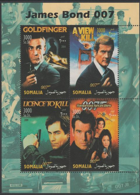 Somalia 2004 James Bond perf sheetlet containing 4 values unmounted mint. This sheet is in a large format with a predominately green margin (see also item 176691). Note this item is privately produced and is offered purely on its thematic appeal