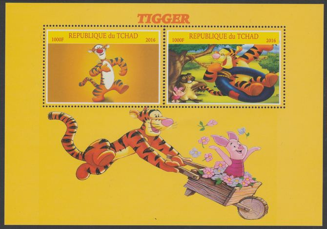 Chad 2016 Disney's Tigger perf sheetlet containing 2 values unmounted mint.  Note this item is privately produced and is offered purely on its thematic appeal