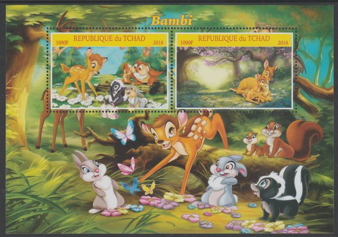 Chad 2016 Disney's Bambi perf sheetlet containing 2 values unmounted mint.  Note this item is privately produced and is offered purely on its thematic appeal