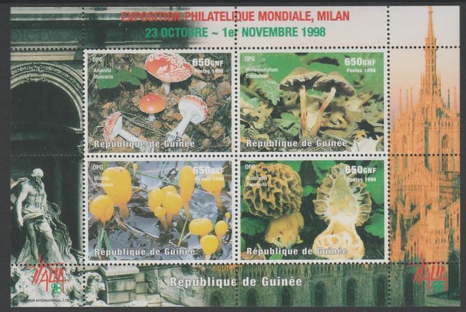 Guinea - Conakry 1998 Italia '98 Stamp Exhibition - Fungi perf sheetlet containing 4 values unmounted mint.  Note this item is privately produced and is offered purely on its thematic appeal