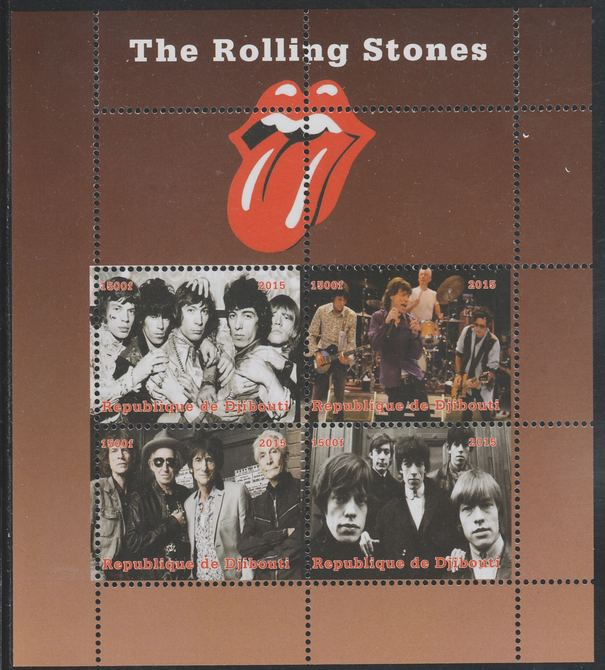 Djibouti 2015 The Rolling Stones perf sheetlet containing 4 values unmounted mint. Note this item is privately produced and is offered purely on its thematic appeal, it has no postal validity