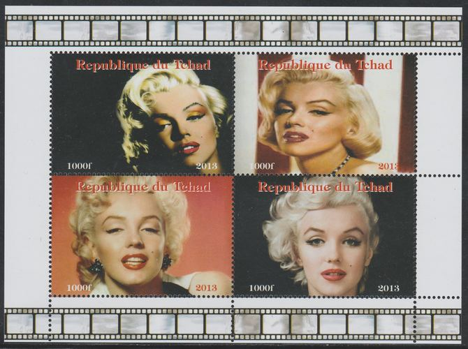 Chad 2013 Marilyn Monroe perf sheetlet containing 4 values unmounted mint. Note this item is privately produced and is offered purely on its thematic appeal, it has no postal validity