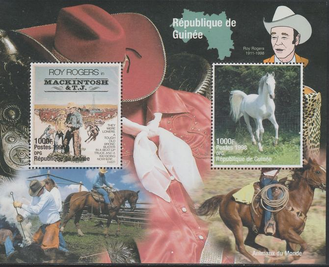 Guinea - Conakry 1998 Roy Rogers perf sheetlet containing 2 values unmounted mint. Note this item is privately produced and is offered purely on its thematic appeal, it has no postal validity