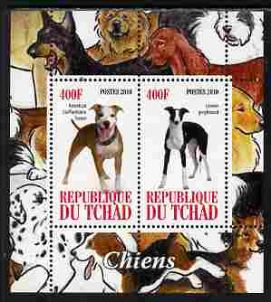 Chad 2010 Dogs #2 perf sheetlet containing 2 values unmounted mint