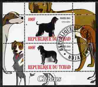 Chad 2010 Dogs #3 perf sheetlet containing 2 values fine cto used