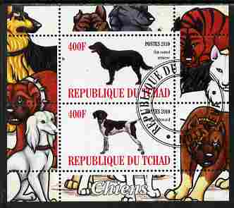 Chad 2010 Dogs #4 perf sheetlet containing 2 values fine cto used