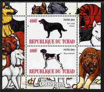 Chad 2010 Dogs #4 perf sheetlet containing 2 values unmounted mint