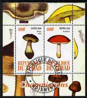 Chad 2010 Mushrooms #1 perf sheetlet containing 2 values fine cto used