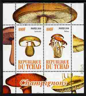 Chad 2010 Mushrooms #2 perf sheetlet containing 2 values unmounted mint