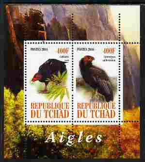 Chad 2010 Birds of Prey #1 perf sheetlet containing 2 values unmounted mint