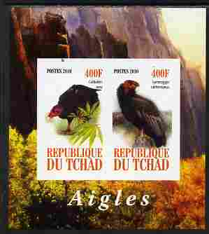Chad 2010 Birds of Prey #1 imperf sheetlet containing 2 values unmounted mint
