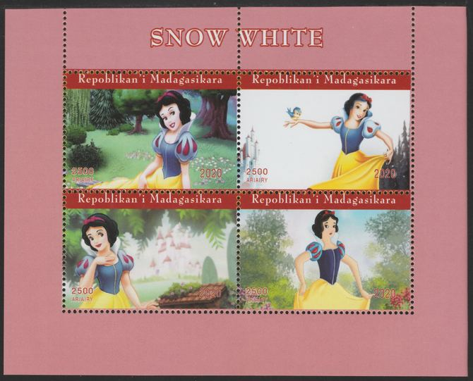 Madagascar 2020 Snow White perf sheetlet containing 4 values unmounted mint