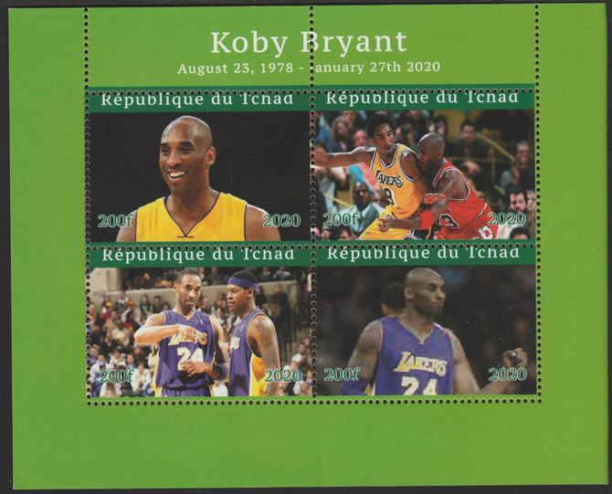Chad 2020 Kobe Bryant (Basketball) perf sheetlet containing 4 values unmounted mint