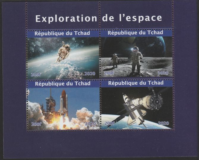 Chad 2020 Space Exploration perf sheetlet containing 4 values unmounted mint