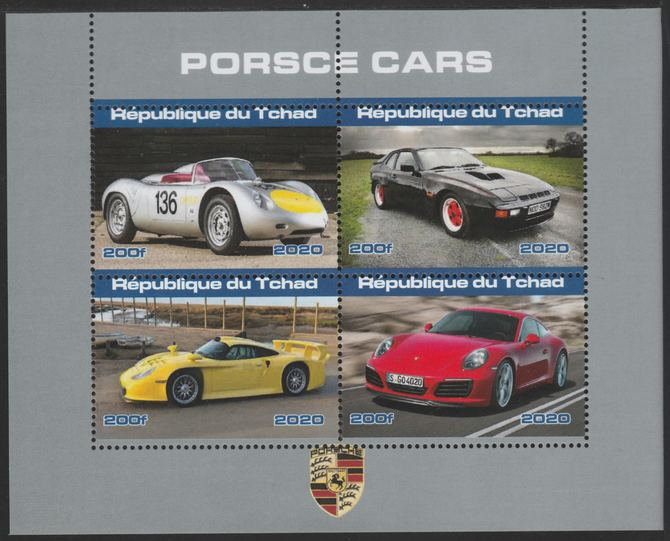 Chad 2020 Porsche Cars perf sheetlet containing 4 values unmounted mint