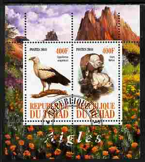 Chad 2010 Birds of Prey #2 perf sheetlet containing 2 values fine cto used