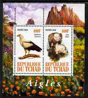Chad 2010 Birds of Prey #2 perf sheetlet containing 2 values unmounted mint